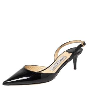 Jimmy Choo Black Patent Leather Tilly Slingback Sandals Size 34