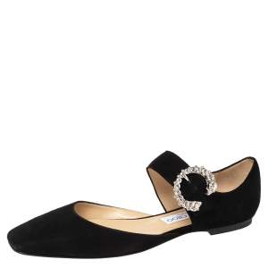 Jimmy Choo Black Suede Gin Crystals D' Orsay Flats Size 38.5