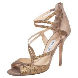 Jimmy Choo Beige Suede Crystal Embellished Strappy Sandals Size 39