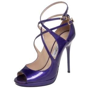 Jimmy Choo Purple Patent Leather Atlas Sandals Size 37