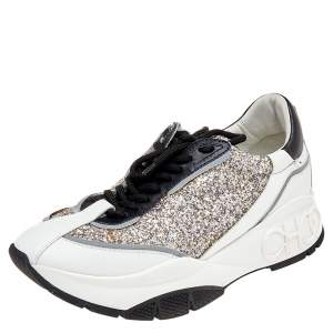 Jimmy Choo White/Silver Leather And Glitter Raine Low Top Sneakers Size 40