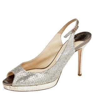 Jimmy Choo Metallic Gold Glitter Verity Peep Toe Slingback Platform Sandals Size 38
