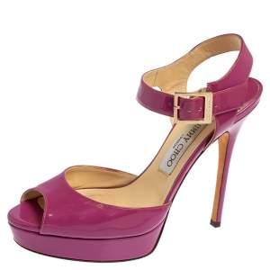 Jimmy Choo Purple Patent Leather Linda Ankle Strap Platform Sandals Size 39.5