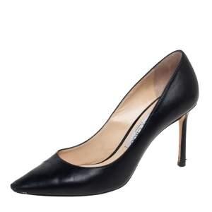 حذاء كعب عالي جيمي تشو رومي جلد أسود مقدمة مدببة مقاس 37