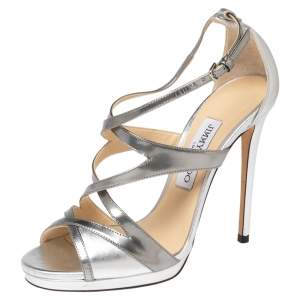 Jimmy Choo Silver Patent and Leather Marianne Sandals Size 37.5
