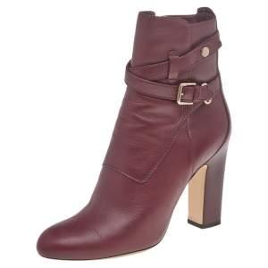 حذاء بوت جيمي تشو بيكر طول منتصف الساق جلد عنابي مقاس 37