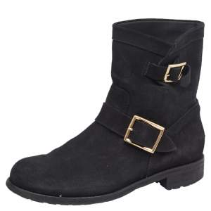Jimmy Choo Black Suede Ankle Boots Size 39.5