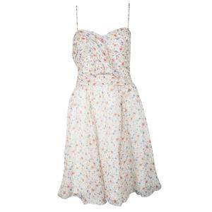 John Galliano Multicolor Floral Printed Silk Sleeveless Dress L