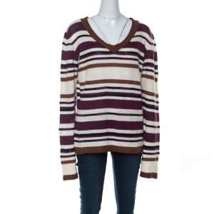 John Galliano Multicolor Striped Crochet knit Sweater L