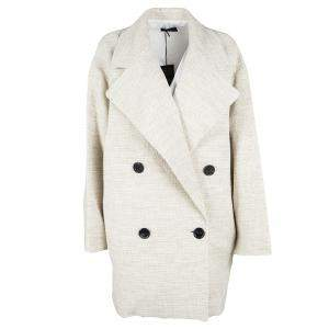 Joseph Beige Stone Summer Tweed Double Breasted Maubert Coat L