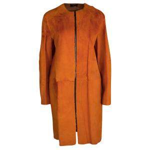 معطف جوزيف سيدني سحاب أمامي جلد كنغارو فرو برتقالي M