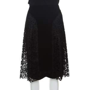 Joseph Black Pleated Lace Detail Courtney Skirt S