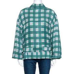 Joseph Green Canvas Check Silk Royce Lightweight Jacket L