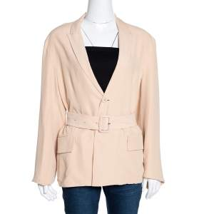Joseph Beige Silk Alex Belted Jacket M