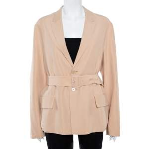 Joseph Beige Silk Belted Alex Jacket M