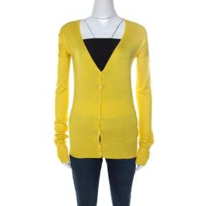 Joseph Yellow Silk Blend Knit Button Front Cardigan S