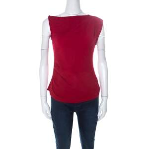 Joseph Red Wool Asymmetrical Ruched Detail Sleeveless Top S