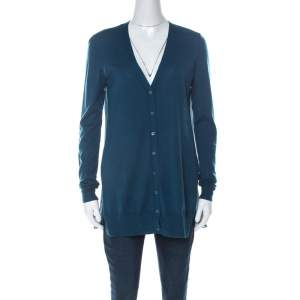 Joseph Teal Blue Wool and Silk Paneled Button Front Cardigan M