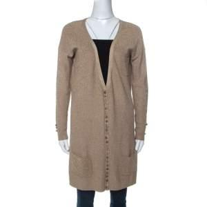 Joseph Gold Silk Blend Lurex Knit Mid Length Cardigan M