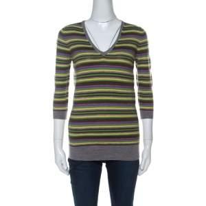 Joseph Multicolor Striped Cashmere Knitted V-Neck Top M