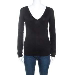 Joseph Black Silk Blend Knit Long Sleeve V-Neck Top M