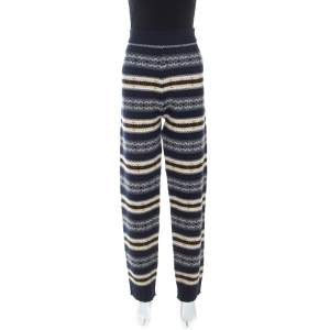 Joseph Navy Blue Wool Fair Isle Knit Pants L
