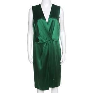 Joseph Green Silk Satin Stellina Wrap Dress L