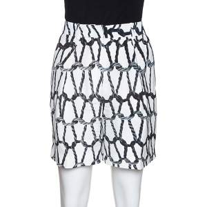Joseph Monochrome Rope Printed Silk Shorts M