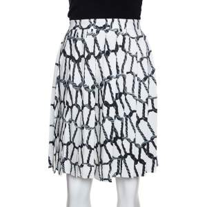 Joseph Monochrome Rope Printed Silk Pleated Skirt M
