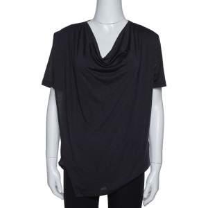 Joseph Navy Blue Fluid Jersey Cowl Neck Top S