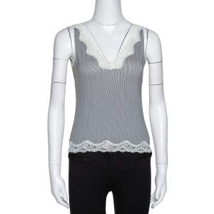 Joseph Monochrome Striped Knit Lace Trim Camisole Top XS
