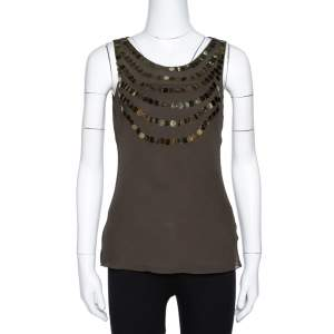Joseph Olive Green Silk Sequin Embellished Sleeveless Top S