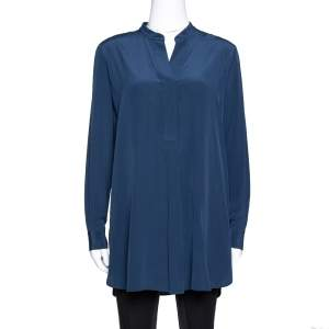 Joseph Midnight Blue Silk Dara Long Sleeve Blouse S
