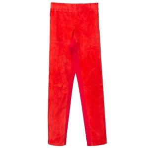 Joseph Red Lambskin & Cotton Stretch Leggings S