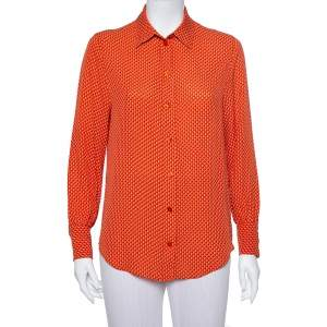 Joseph Orange Printed Silk Long Sleeve Button Front Shirt S