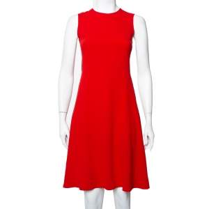 Joseph Red Crepe Paneled Skater Dress S