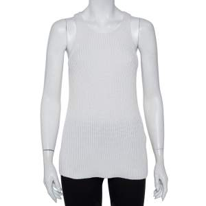 Joseph White Cable Knit Cotton Racer Back Detail Tank Top XS