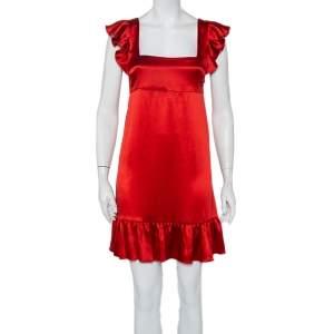 Joseph Red Silk Satin Ruffle Detail Sleeveless Bamako Dress M