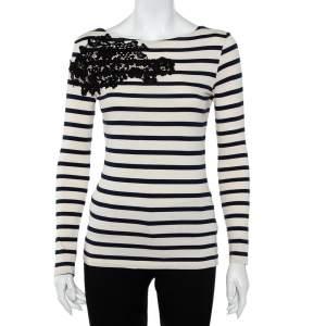 Joseph Beige & Navy Blue Striped Cotton Lace Patch Detail T-Shirt S
