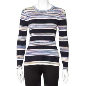 Joseph Multicolor Striped Rib Knit Long Sleeve Sweater S