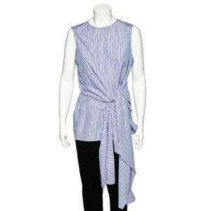 Joseph Blue Striped Cotton Wrap Detail Alicia Top L