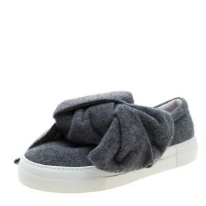 Joshua Sanders Grey Felt Bow Slip On Sneakers Size 37