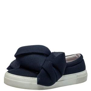 Joshua Sanders Blue Mesh Felt Bow Slip On Sneakers Size 38