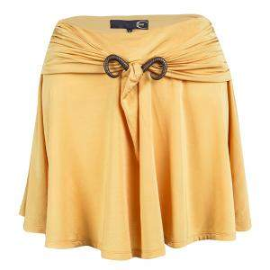Just Cavalli Mustard Yellow Bull Horn Buckle Detail Mini Skirt S