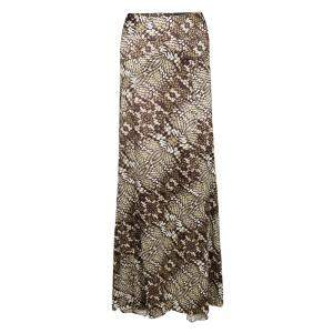 Just Cavalli Animal Print Satin Flared Bottom Maxi Skirt M