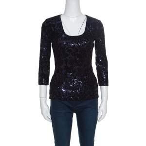 Just Cavalli Purple and Black Flocked Embellished Long Sleeve Top S