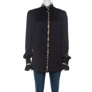 Just Cavalli Black Satin and Leopard Pleated Trim Button Front Blouse M