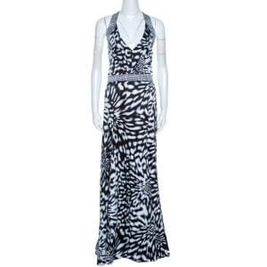 Just Cavalli Multicolor Abstract Printed Satin Halter Neck Dress L