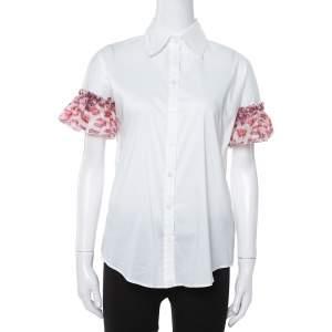 Just Cavalli White Cotton Ruffled Silk Sleeve Blouse M