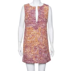 Just Cavalli Multicolor Canvas Plunge Neck Shift Dress M